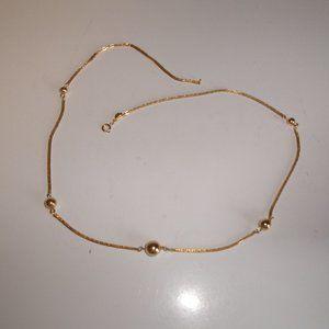 Avon necklace gold tone chain balls